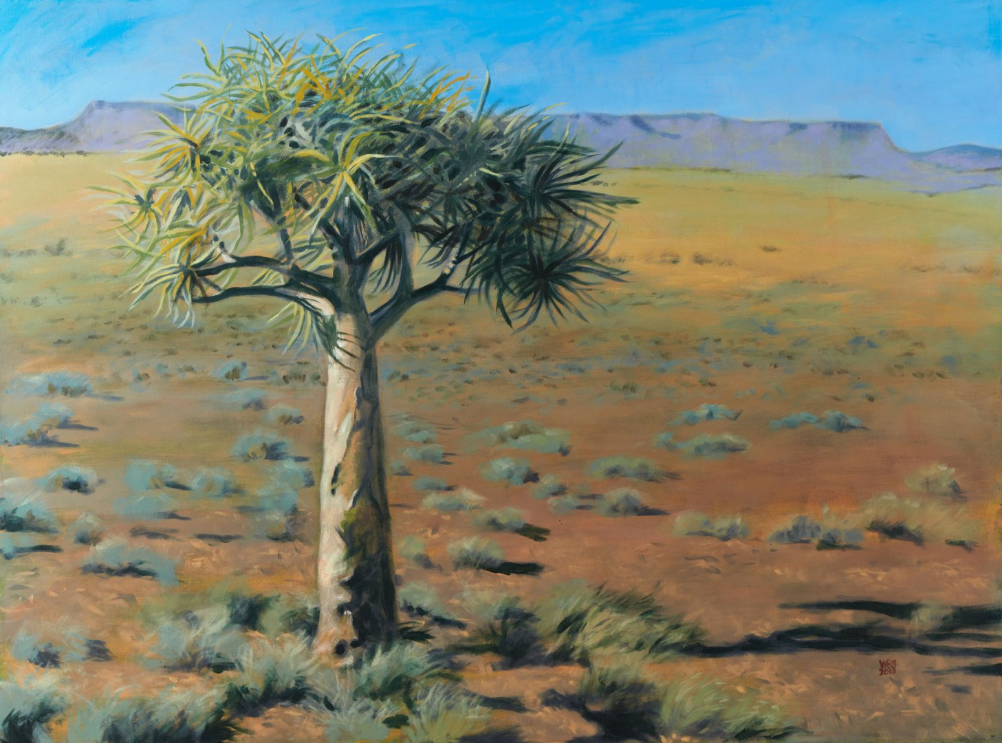 Painting of Kokerboom near Niewoudtville, acrylic on canvas, 122 cm x 91 cm