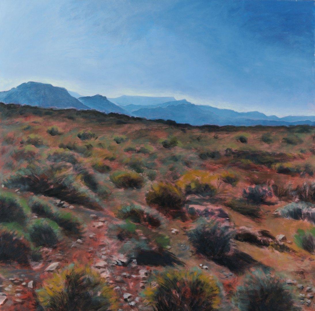 Painting near Beaufort West, acrylic on canvas, 101 cm x 101 cm