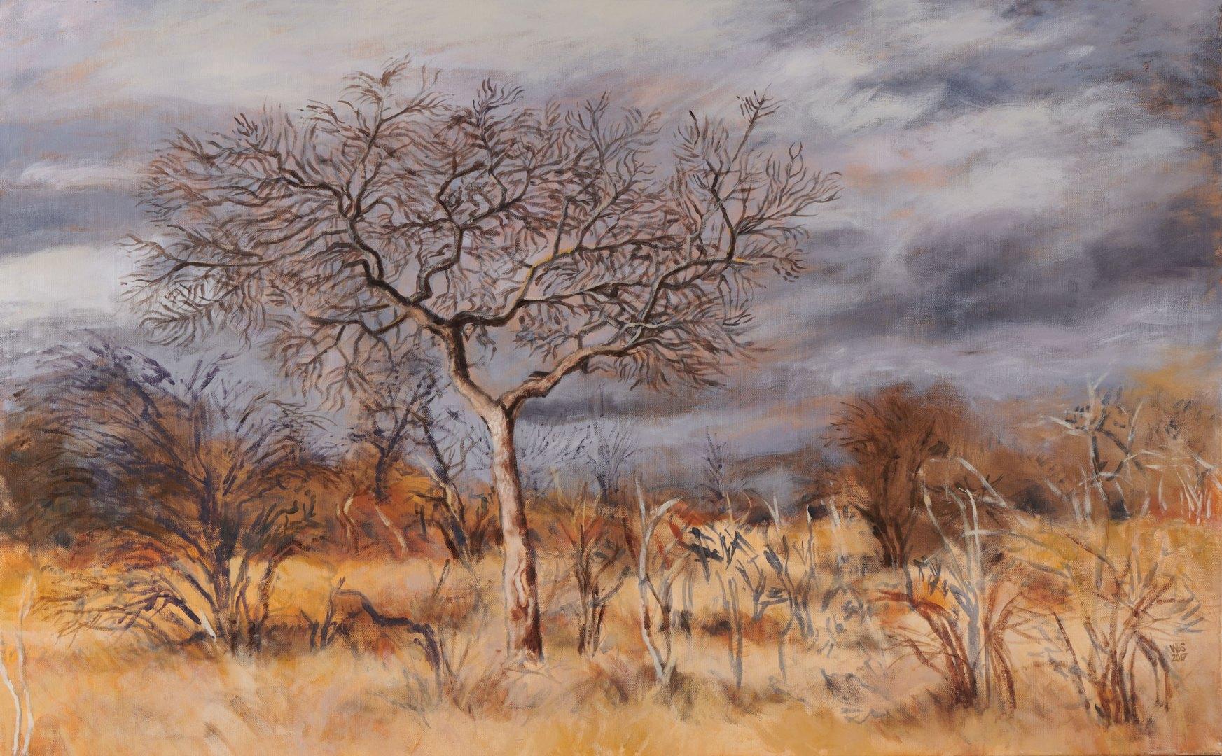 Painting of Marula against a grey sky, acrylic on canvas, 122 cm x 76 cm