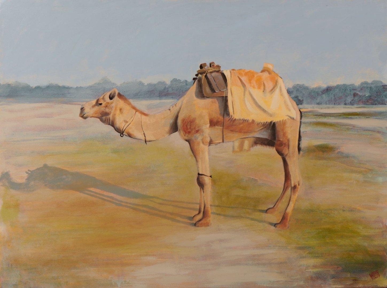 Camel along the Yamuna, Delhi, acrylic on canvas, SOLD