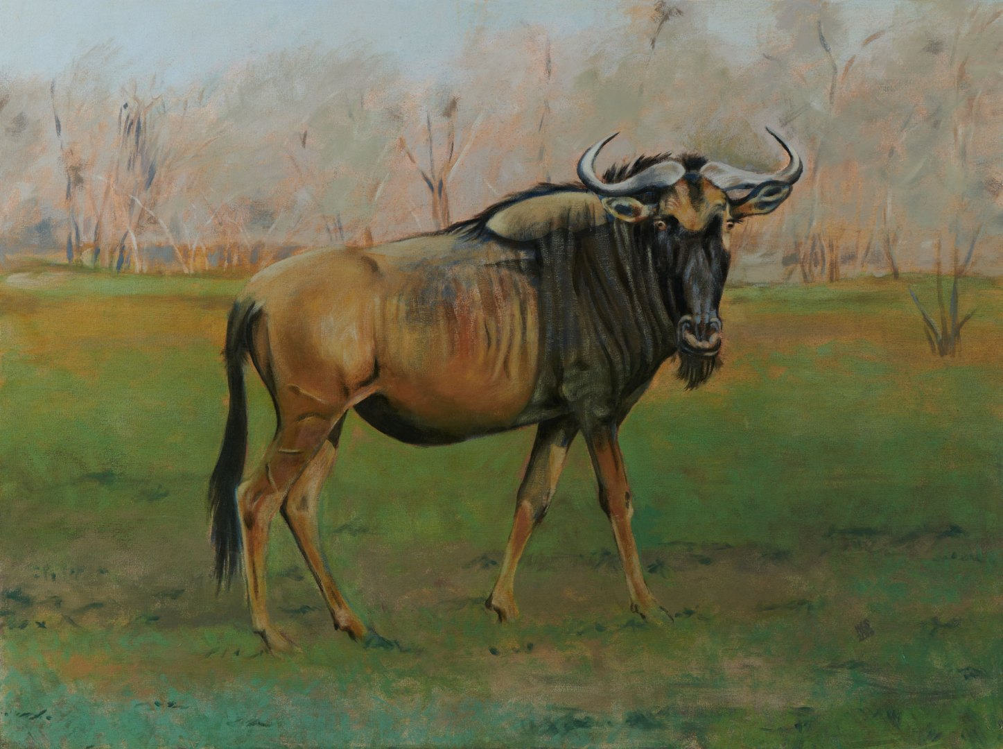 Painting of a Blue wildebeest, acrylic on canvas, 110 cm x 76 cm