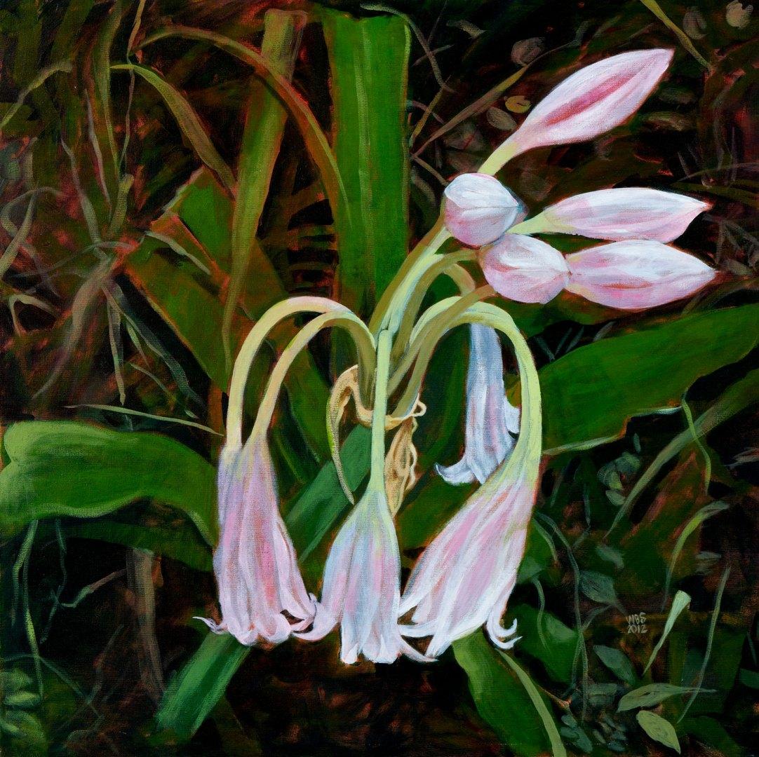 Vlei lilies, acrylic on canvas, 76 cm x 76 cm