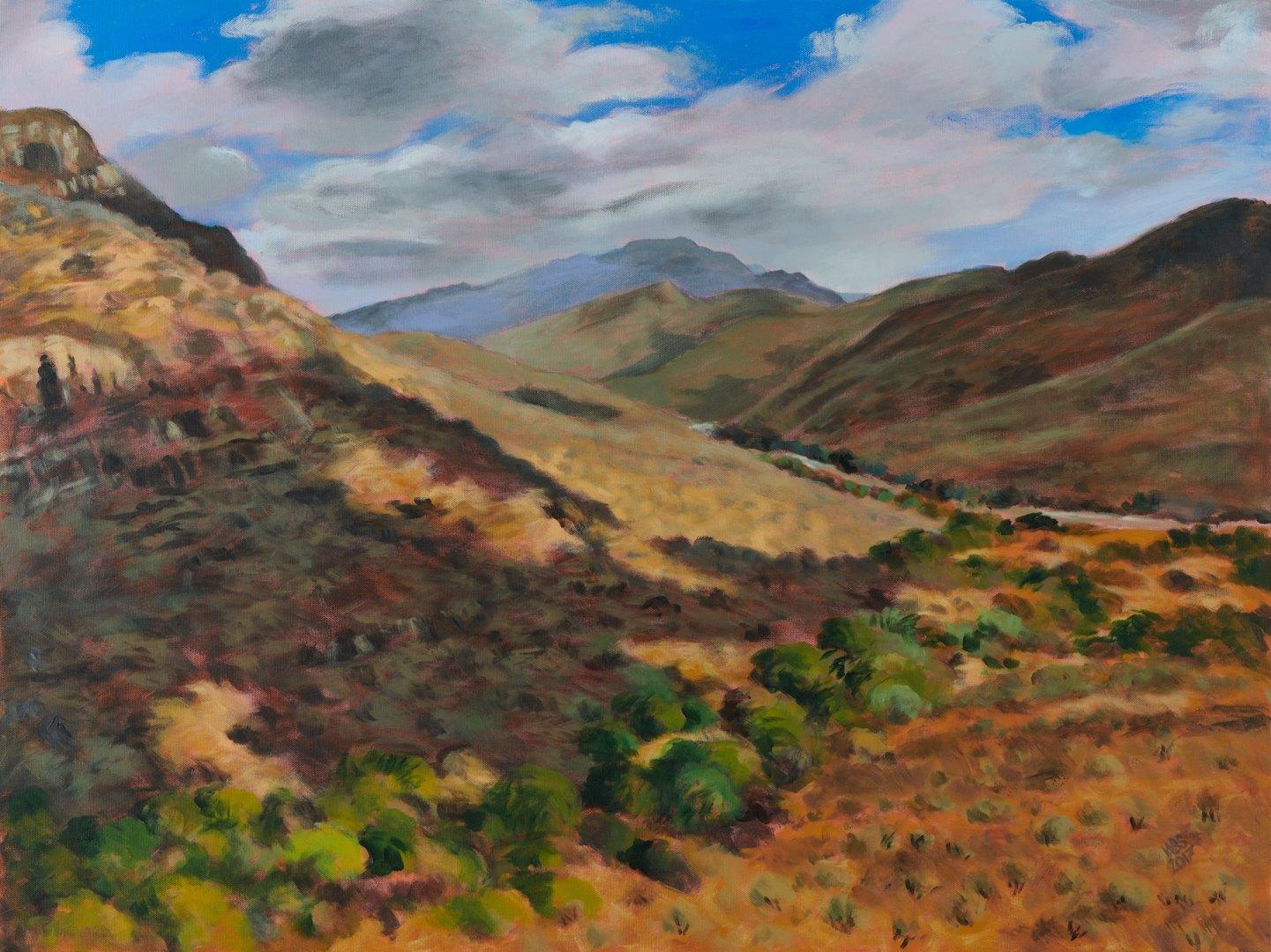 Painting looking west towards Manoutsa, acrylic on canvas
