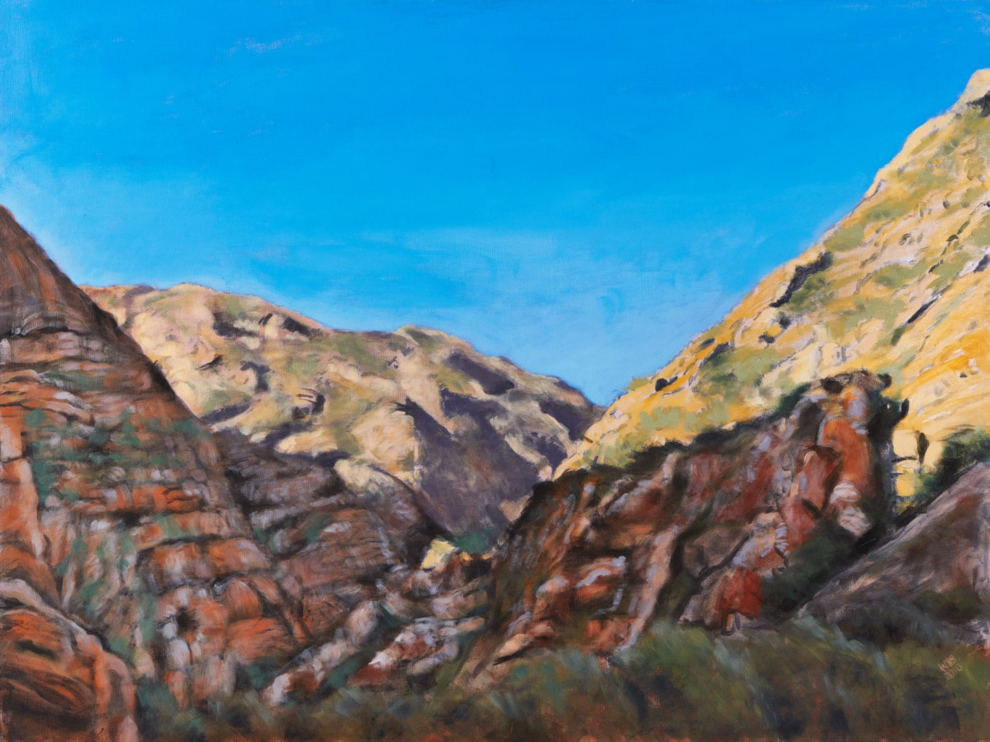 Painting of Meiringspoort i, acrylic on canvas, 101 cm x 76 cm