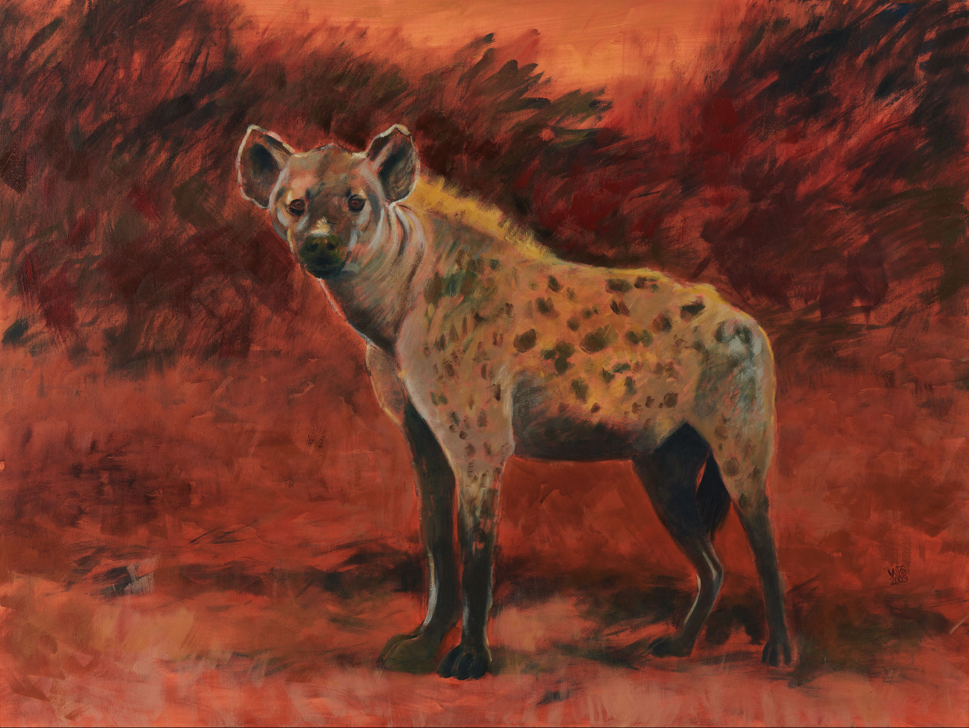 Painting of a Spotted hyena, acrylic on canvas, 101 cm x 76 cm